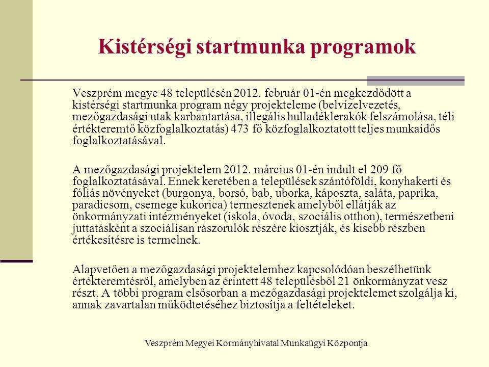 Veszprém Megyei Kormányhivatal Munkaügyi Központja Kistérségi startmunka programok Veszprém megye 48 településén 2012. február 01-én megkezdődött a ki
