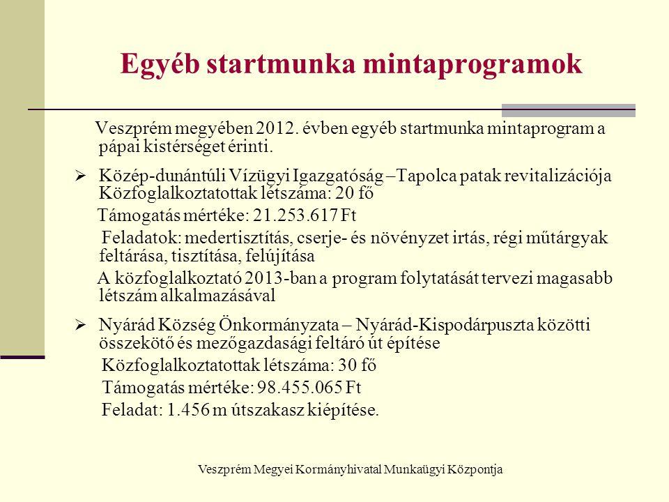 Veszprém Megyei Kormányhivatal Munkaügyi Központja Egyéb startmunka mintaprogramok Veszprém megyében 2012. évben egyéb startmunka mintaprogram a pápai