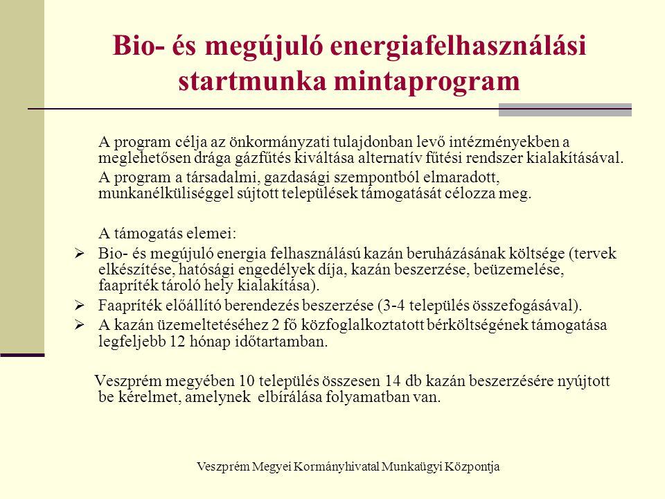 Veszprém Megyei Kormányhivatal Munkaügyi Központja Bio- és megújuló energiafelhasználási startmunka mintaprogram A program célja az önkormányzati tula