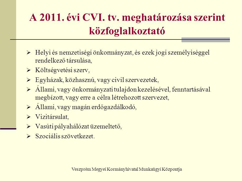 Veszprém Megyei Kormányhivatal Munkaügyi Központja A 2011. évi CVI. tv. meghatározása szerint közfoglalkoztató  Helyi és nemzetiségi önkormányzat, és
