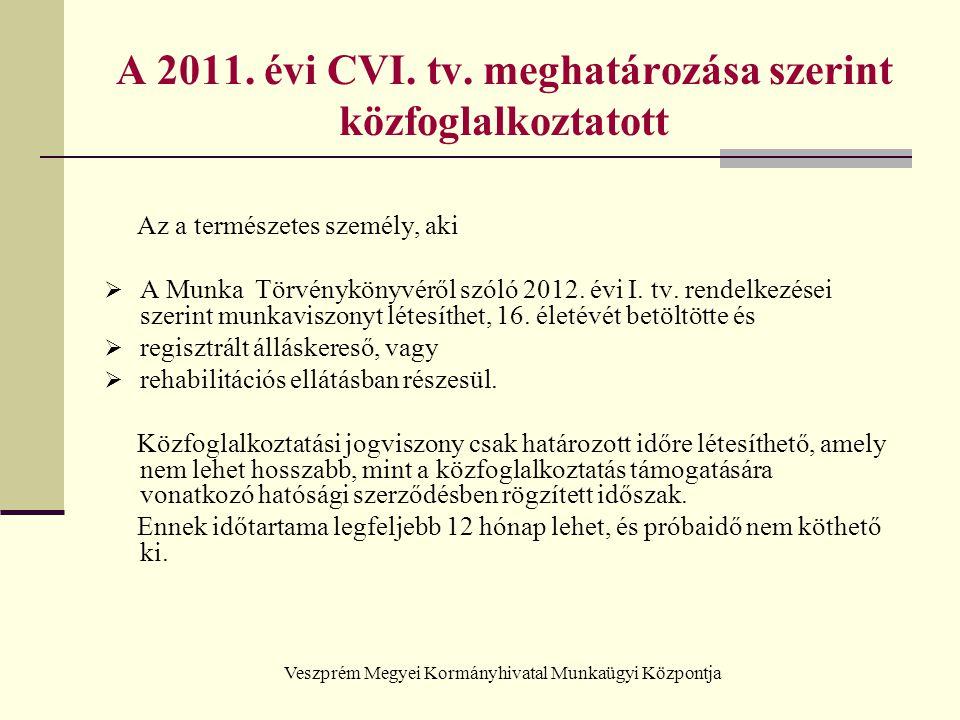 Veszprém Megyei Kormányhivatal Munkaügyi Központja A 2011. évi CVI. tv. meghatározása szerint közfoglalkoztatott Az a természetes személy, aki  A Mun