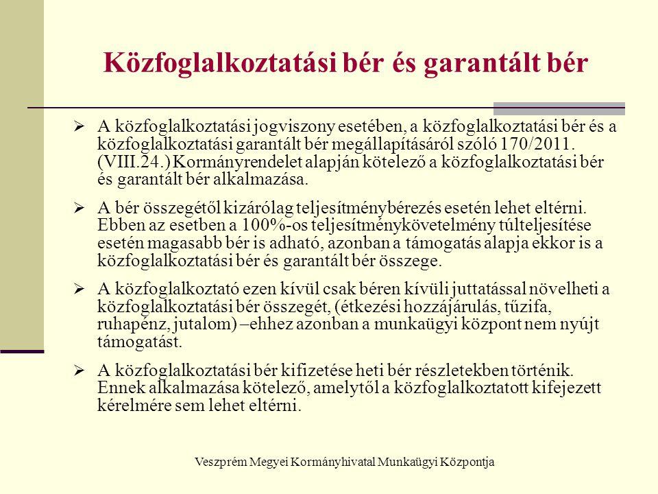 Veszprém Megyei Kormányhivatal Munkaügyi Központja Közfoglalkoztatási bér és garantált bér A közfoglalkoztatási bér bruttó összege 2012.