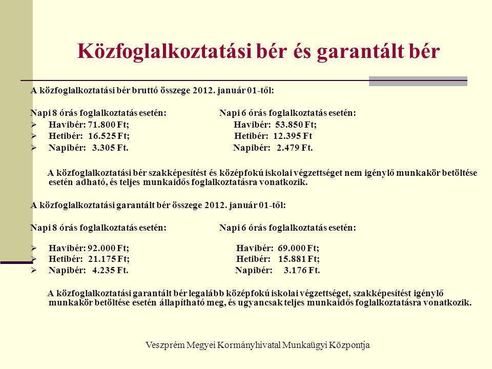 Veszprém Megyei Kormányhivatal Munkaügyi Központja Közfoglalkoztatási bér és garantált bér A közfoglalkoztatási bér bruttó összege 2012. január 01-től