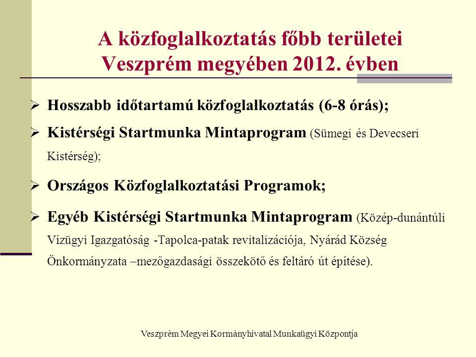 Veszprém Megyei Kormányhivatal Munkaügyi Központja A közfoglalkoztatás főbb területei Veszprém megyében 2012. évben  Hosszabb időtartamú közfoglalkoz