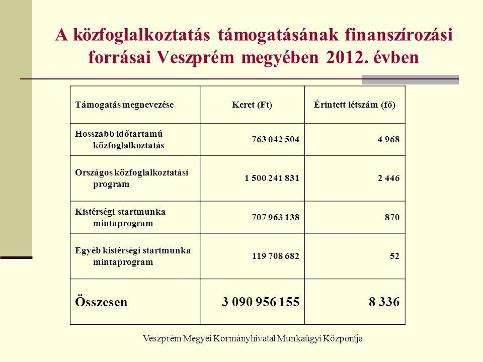 Veszprém Megyei Kormányhivatal Munkaügyi Központja A közfoglalkoztatás támogatásának finanszírozási forrásai Veszprém megyében 2012. évben Támogatás m