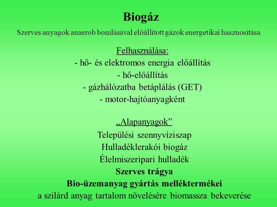 """Biogáz Szerves anyagok anaerob bomlásával előállított gázok energetikai hasznosítása """"Alapanyagok"""" Települési szennyvíziszap Hulladéklerakói biogáz Él"""