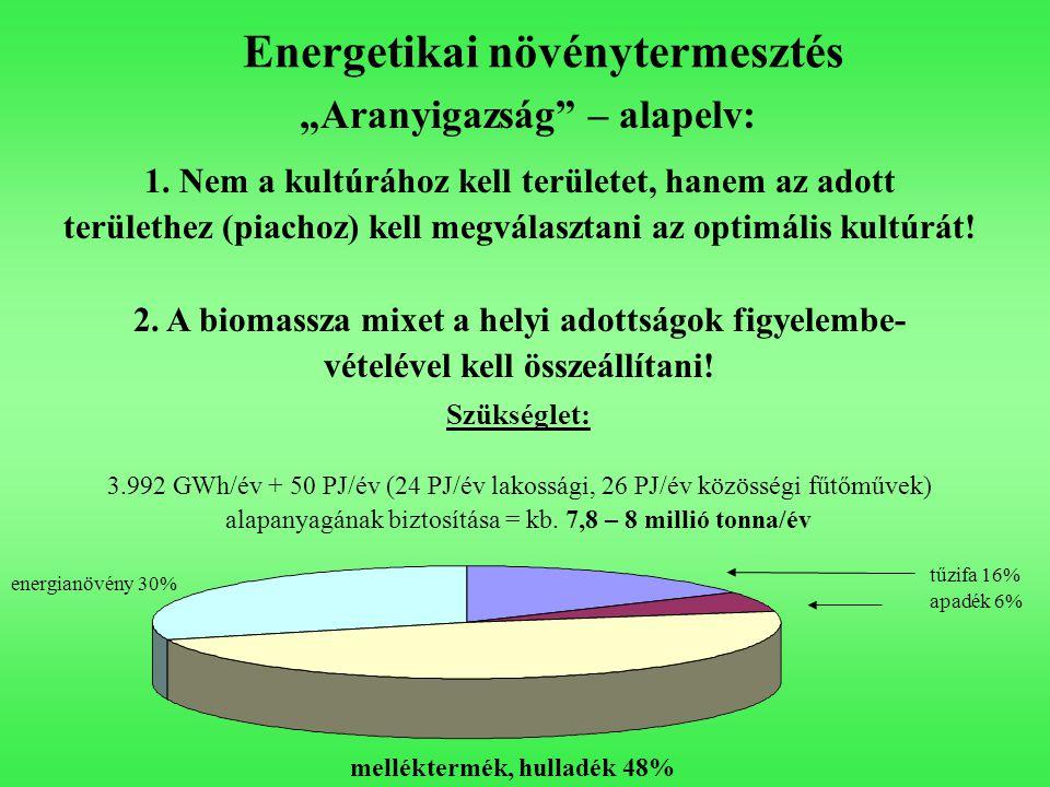 """Energetikai növénytermesztés melléktermék, hulladék 48% energianövény 30% tűzifa 16% apadék 6% """"Aranyigazság"""" – alapelv: 1. Nem a kultúrához kell terü"""
