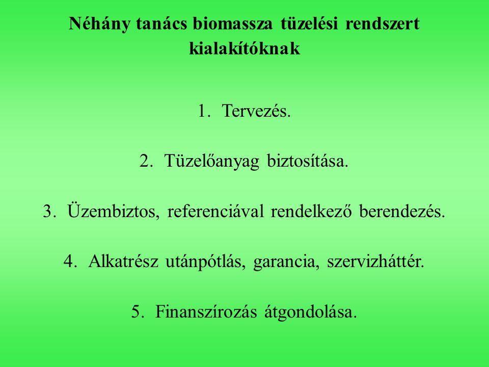 Néhány tanács biomassza tüzelési rendszert kialakítóknak 1.Tervezés. 2.Tüzelőanyag biztosítása. 3.Üzembiztos, referenciával rendelkező berendezés. 4.A