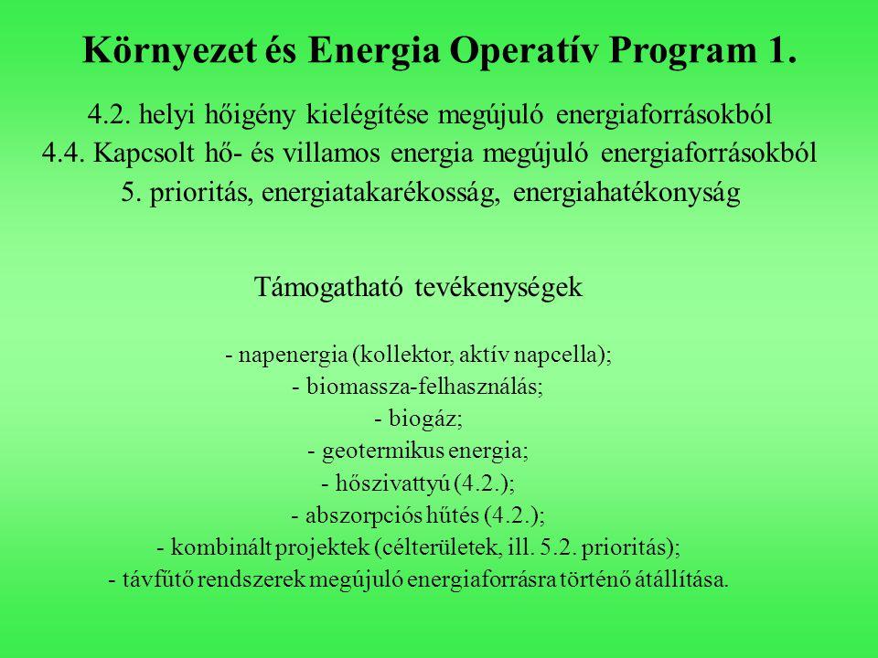 Környezet és Energia Operatív Program 1. 4.2. helyi hőigény kielégítése megújuló energiaforrásokból 4.4. Kapcsolt hő- és villamos energia megújuló ene