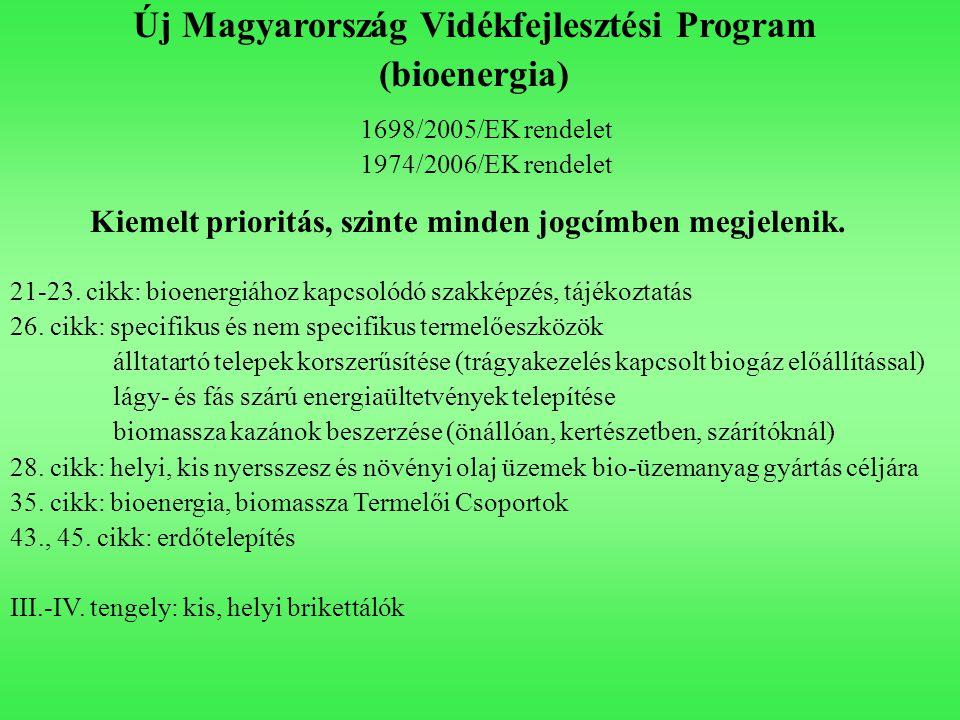 Új Magyarország Vidékfejlesztési Program (bioenergia) 1698/2005/EK rendelet 1974/2006/EK rendelet 21-23. cikk: bioenergiához kapcsolódó szakképzés, tá