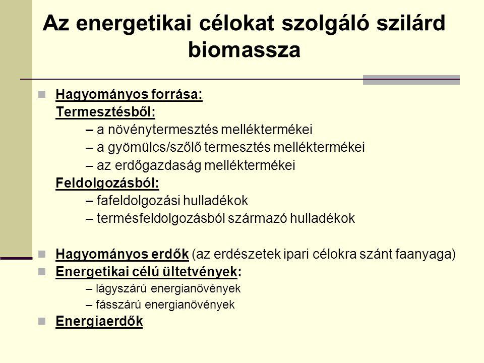 Az energetikai célokat szolgáló szilárd biomassza Hagyományos forrása: Termesztésből: – a növénytermesztés melléktermékei – a gyömülcs/szőlő termesztés melléktermékei – az erdőgazdaság melléktermékei Feldolgozásból: – fafeldolgozási hulladékok – termésfeldolgozásból származó hulladékok Hagyományos erdők (az erdészetek ipari célokra szánt faanyaga) Energetikai célú ültetvények: – lágyszárú energianövények – fásszárú energianövények Energiaerdők