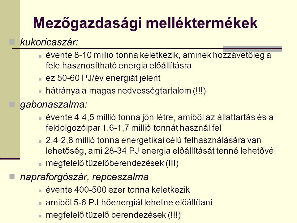 Magyarország biomassza potenciálja Szilárd erdészeti biomassza 2010-ig 1,8x10 6 t erdészeti fa energetikai célra → probléma Fás szárú energiaültetvények 2010-re elméletileg elérhető potenciál 1x10 6 t (60 ezer ha energiaültatvény esetén) Egyéb szilárd biomassza Lágyszárú energiaültetvények (szarvasi energiafű, kínai nád) Szántóföldi melléktermékek – szalmagyűjtésből 1,5 millió t/év Kertészeti hulladék – 1,2x10 6 t (problémás begyűjtés) Élelmiszeripari hulladék – 30–50 ezer t Folyékony energiahordozóként használt biomassza Bioetanol (búza, kukorica) Biodízel (repce) Bioolaj (repceolaj, használt sütőolaj)