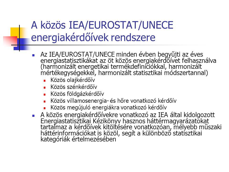 A közös IEA/EUROSTAT/UNECE energiakérdőívek rendszere Az IEA/EUROSTAT/UNECE minden évben begyűjti az éves energiastatisztikákat az öt közös energiakérdőívet felhasználva (harmonizált energetikai termékdefiníciókkal, harmonizált mértékegységekkel, harmonizált statisztikai módszertannal) Közös olajkérdőív Közös szénkérdőív Közös földgázkérdőív Közös villamosenergia- és hőre vonatkozó kérdőív Közös megújuló energiákra vonatkozó kérdőív A közös energiakérdőívekre vonatkozó az IEA által kidolgozott Energiastatisztikai Kézikönyv hasznos háttérmagyarázatokat tartalmaz a kérdőívek kitöltésére vonatkozóan, mélyebb műszaki háttérinformációkat is közöl, segít a különböző statisztikai kategóriák értelmezésében