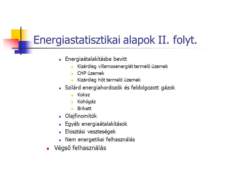 Energiastatisztikai alapok II. folyt. Energiaátalakításba bevitt Kizárólag villamosenergiát termelő üzemek CHP üzemek Kizárólag hőt termelő üzemek Szi