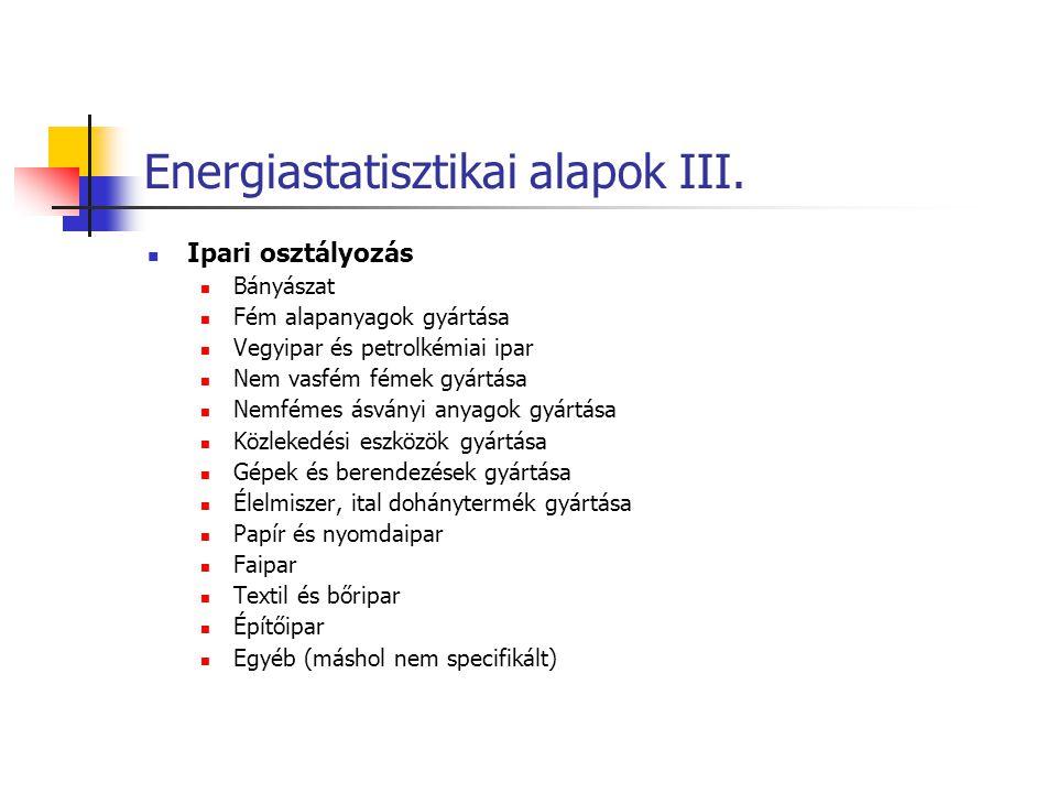 Energiastatisztikai alapok III. Ipari osztályozás Bányászat Fém alapanyagok gyártása Vegyipar és petrolkémiai ipar Nem vasfém fémek gyártása Nemfémes