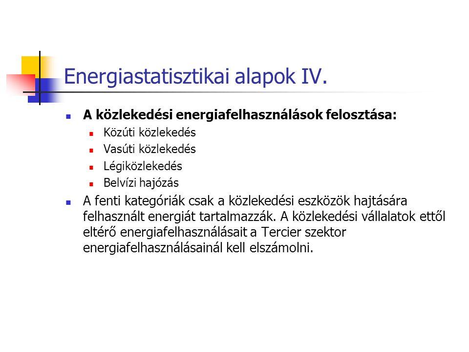 Energiastatisztikai alapok IV. A közlekedési energiafelhasználások felosztása: Közúti közlekedés Vasúti közlekedés Légiközlekedés Belvízi hajózás A fe