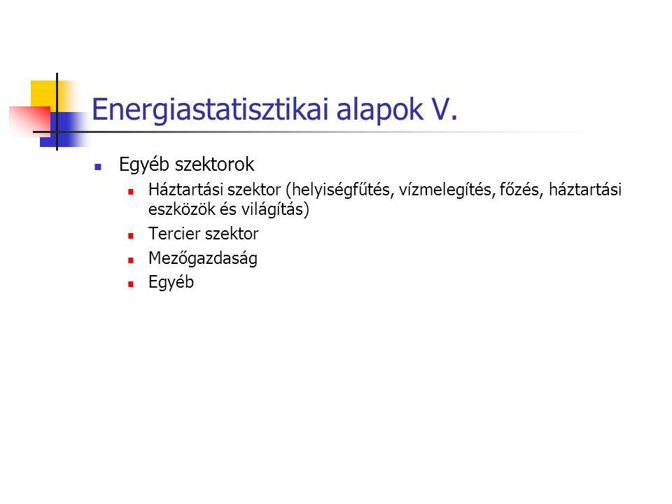 Energiastatisztikai alapok V. Egyéb szektorok Háztartási szektor (helyiségfűtés, vízmelegítés, főzés, háztartási eszközök és világítás) Tercier szekto