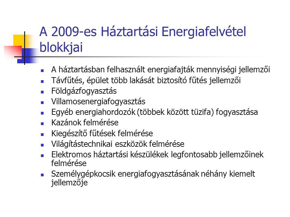 A 2009-es Háztartási Energiafelvétel blokkjai A háztartásban felhasznált energiafajták mennyiségi jellemzői Távfűtés, épület több lakását biztosító fűtés jellemzői Földgázfogyasztás Villamosenergiafogyasztás Egyéb energiahordozók (többek között tüzifa) fogyasztása Kazánok felmérése Kiegészítő fűtések felmérése Világítástechnikai eszközök felmérése Elektromos háztartási készülékek legfontosabb jellemzőinek felmérése Személygépkocsik energiafogyasztásának néhány kiemelt jellemzője