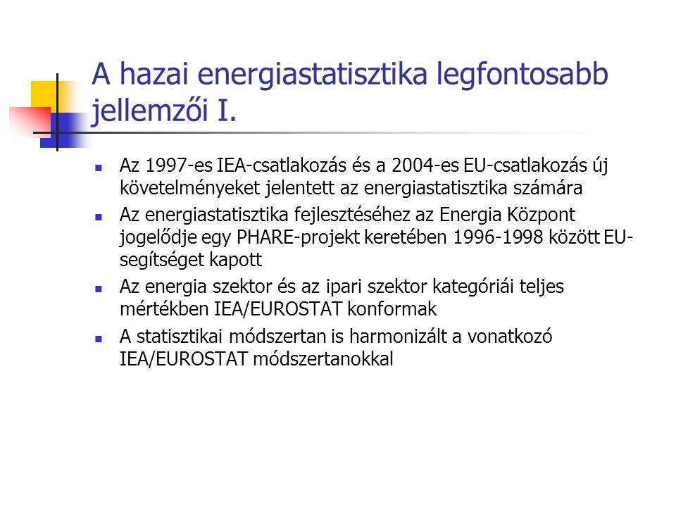 A hazai energiastatisztika legfontosabb jellemzői I. Az 1997-es IEA-csatlakozás és a 2004-es EU-csatlakozás új követelményeket jelentett az energiasta
