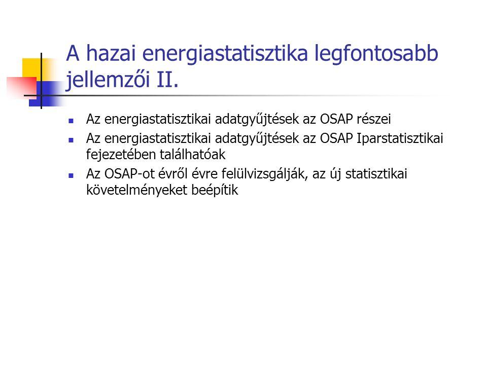 A hazai energiastatisztika legfontosabb jellemzői II. Az energiastatisztikai adatgyűjtések az OSAP részei Az energiastatisztikai adatgyűjtések az OSAP