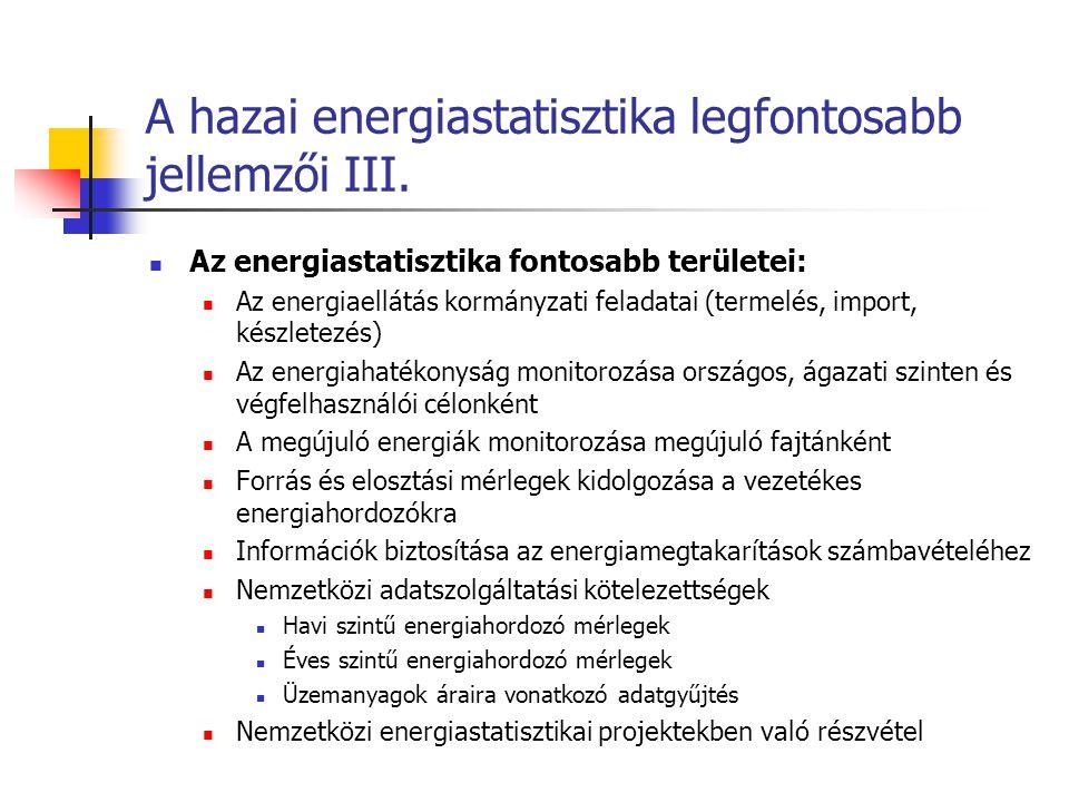 A hazai energiastatisztika legfontosabb jellemzői III. Az energiastatisztika fontosabb területei: Az energiaellátás kormányzati feladatai (termelés, i