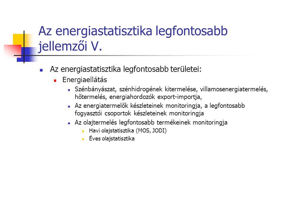 Az energiastatisztika legfontosabb jellemzői V. Az energiastatisztika legfontosabb területei: Energiaellátás Szénbányászat, szénhidrogének kitermelése