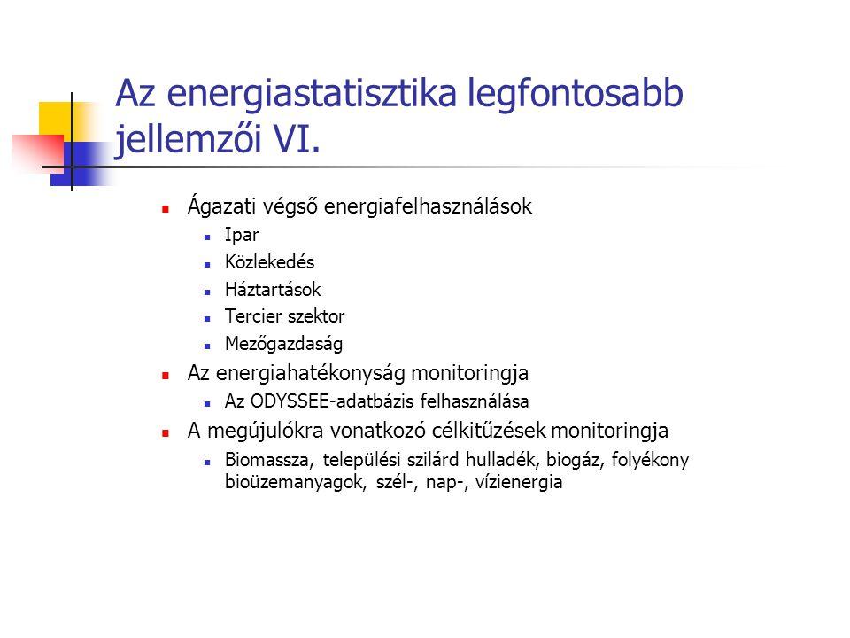 Az energiastatisztika legfontosabb jellemzői VI. Ágazati végső energiafelhasználások Ipar Közlekedés Háztartások Tercier szektor Mezőgazdaság Az energ