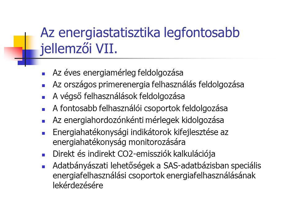 Az energiastatisztika legfontosabb jellemzői VII.