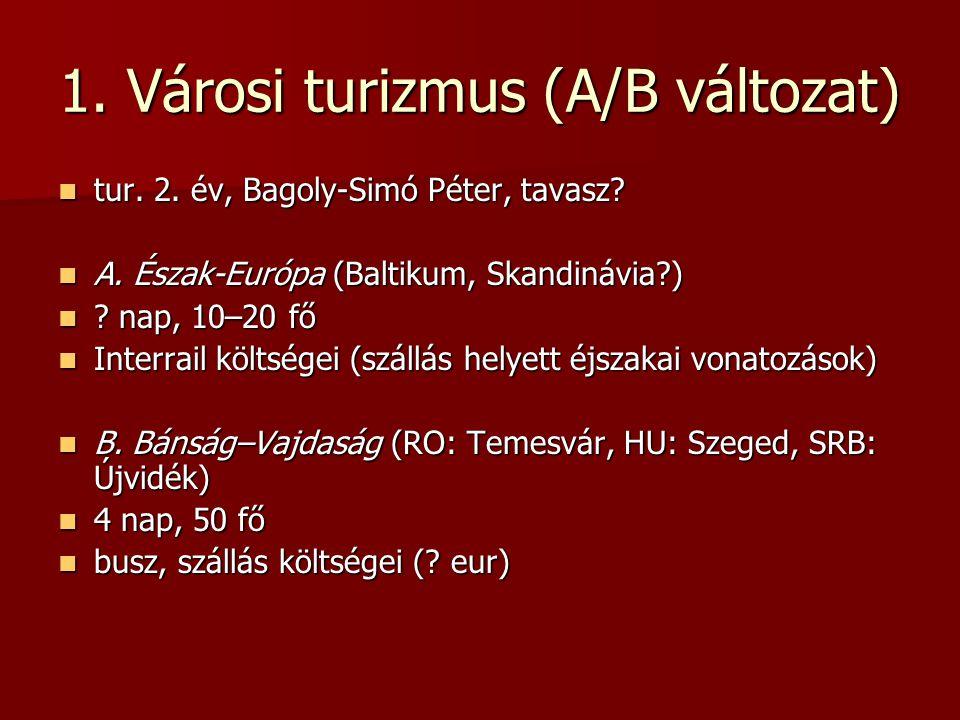 1.Városi turizmus (A/B változat) tur. 2. év, Bagoly-Simó Péter, tavasz.