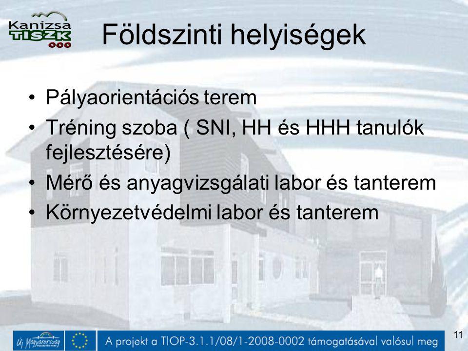 11 Földszinti helyiségek Pályaorientációs terem Tréning szoba ( SNI, HH és HHH tanulók fejlesztésére) Mérő és anyagvizsgálati labor és tanterem Környezetvédelmi labor és tanterem