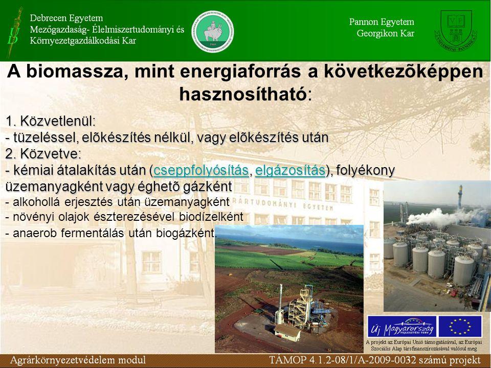 A biomassza, mint energiaforrás a következõképpen hasznosítható: 1. Közvetlenül: - tüzeléssel, elõkészítés nélkül, vagy elõkészítés után 2. Közvetve: