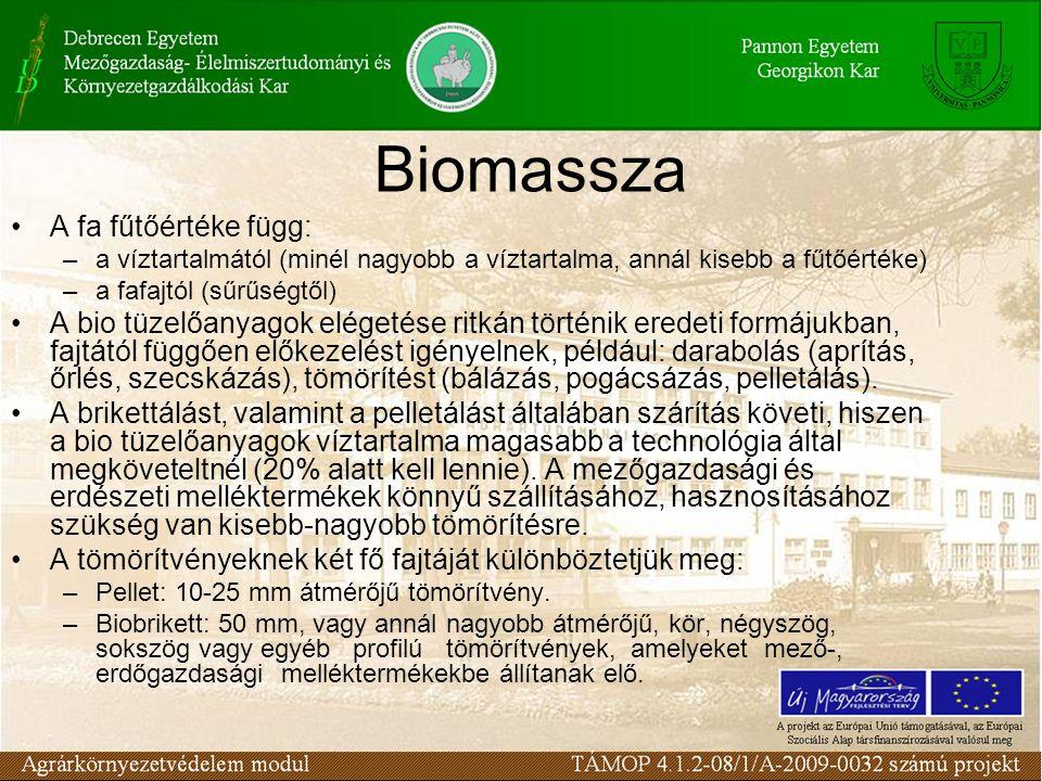 Biomassza A fa fűtőértéke függ: –a víztartalmától (minél nagyobb a víztartalma, annál kisebb a fűtőértéke) –a fafajtól (sűrűségtől) A bio tüzelőanyago