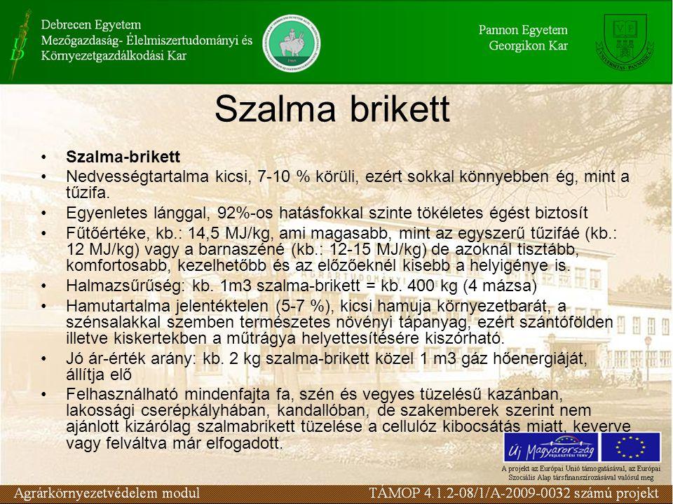 Szalma brikett Szalma-brikett Nedvességtartalma kicsi, 7-10 % körüli, ezért sokkal könnyebben ég, mint a tűzifa. Egyenletes lánggal, 92%-os hatásfokka