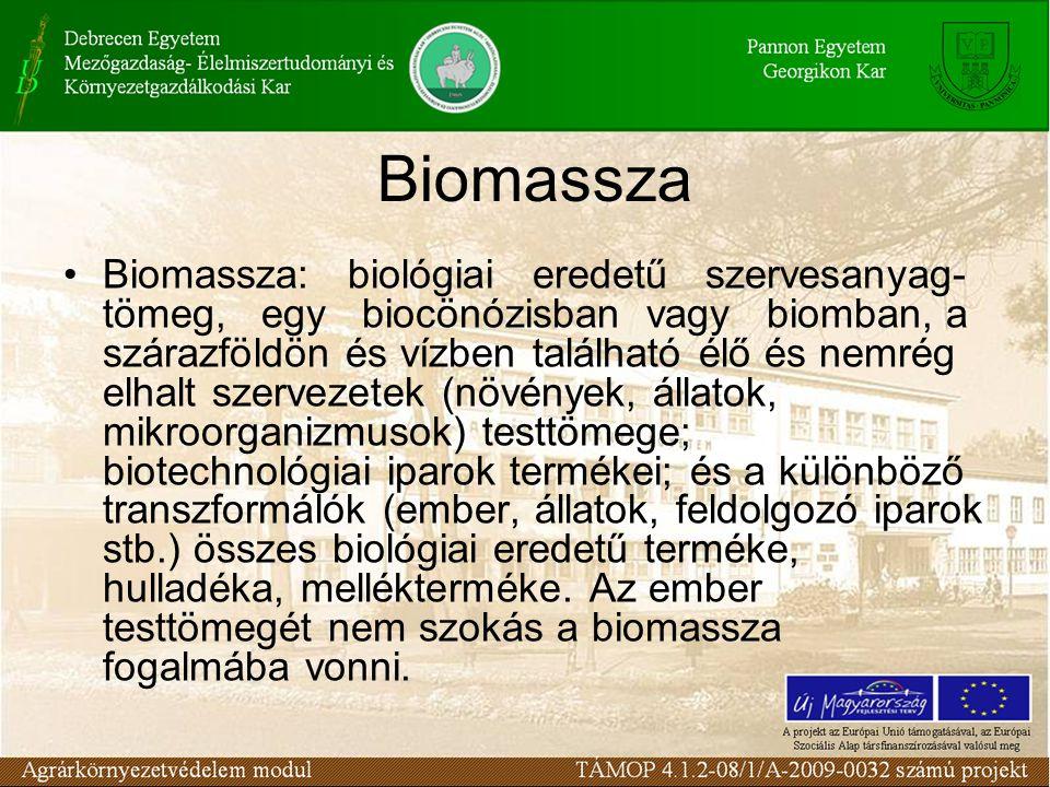 Biomassza: biológiai eredetű szervesanyag- tömeg, egy biocönózisban vagy biomban, a szárazföldön és vízben található élő és nemrég elhalt szervezetek