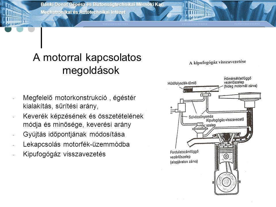 A lambda-szonda felépítése A katalizátor Kipufogógáz utókezelése a katalizátorban Káros anyagokat vegyi úton ártalmatlanítja, nem alakul át közben Magnézium-aluminium-szilikát ebből van az ovális kerámia hordozó Csatornás porózus hordozóréteg 7000x felület Hordozórétegre gőzölik a katalitikusan aktív : platinát, ródiumot, palládiumréteget kb2 gr.