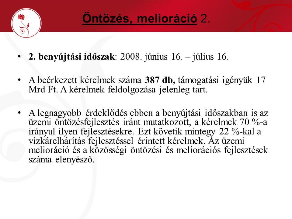 Öntözés, melioráció 2.2. benyújtási időszak: 2008.