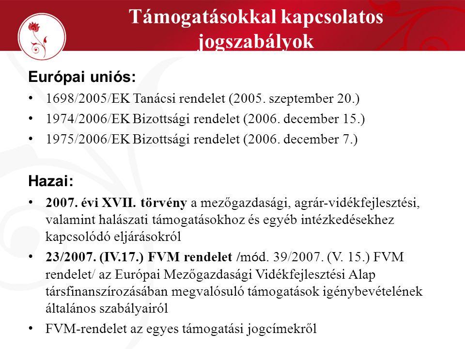 Támogatásokkal kapcsolatos jogszabályok Európai uniós: 1698/2005/EK Tanácsi rendelet (2005.