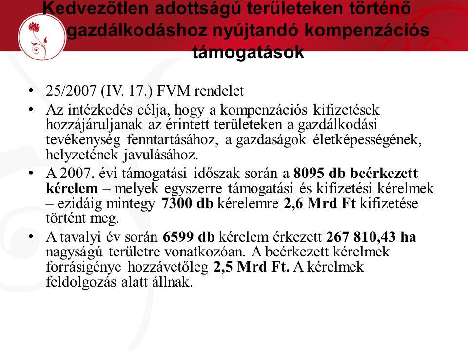Kedvezőtlen adottságú területeken történő gazdálkodáshoz nyújtandó kompenzációs támogatások 25/2007 (IV.