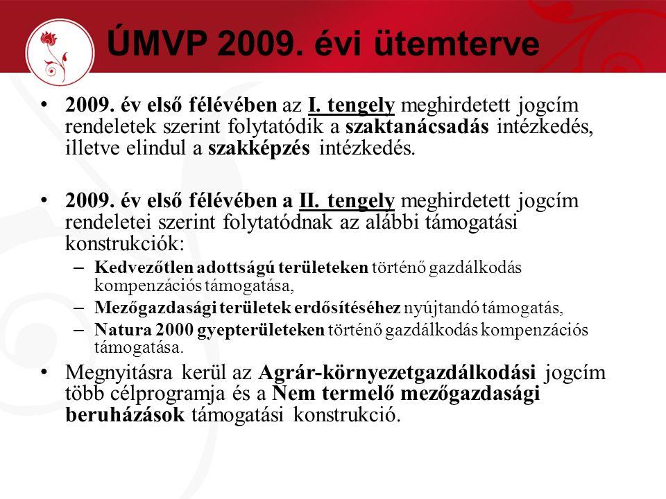 ÚMVP 2009. évi ütemterve 2009. év első félévében az I.