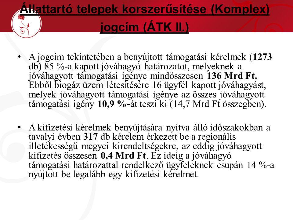 Állattartó telepek korszerűsítése (Komplex) jogcím (ÁTK II.) A jogcím tekintetében a benyújtott támogatási kérelmek (1273 db) 85 %-a kapott jóváhagyó határozatot, melyeknek a jóváhagyott támogatási igénye mindösszesen 136 Mrd Ft.