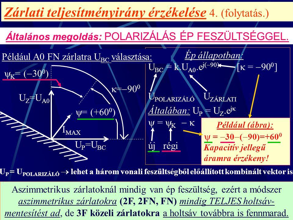 Zárlati teljesítményirány érzékelése 4. (folytatás.) Általános megoldás: POLARIZÁLÁS ÉP FESZÜLTSÉGGEL. Aszimmetrikus zárlatoknál mindig van ép feszült