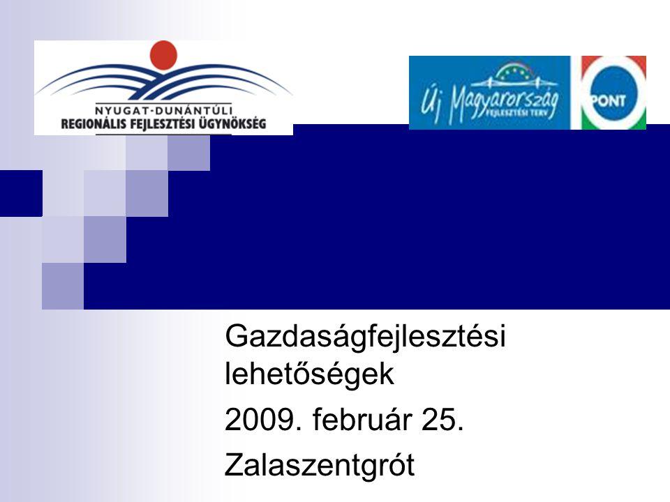 Gazdaságfejlesztési lehetőségek 2009. február 25. Zalaszentgrót