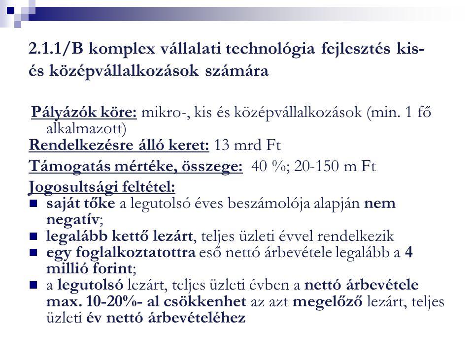 2.1.1/B komplex vállalati technológia fejlesztés kis- és középvállalkozások számára Pályázók köre: mikro-, kis és középvállalkozások (min. 1 fő alkalm