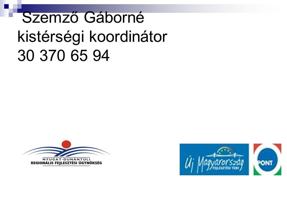 Szemző Gáborné kistérségi koordinátor 30 370 65 94