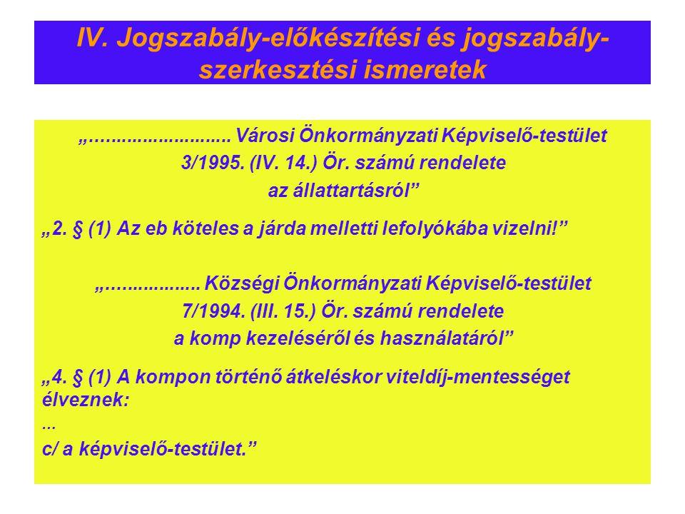 """IV. Jogszabály-előkészítési és jogszabály- szerkesztési ismeretek """"........................... Városi Önkormányzati Képviselő-testület 3/1995. (IV. 14"""