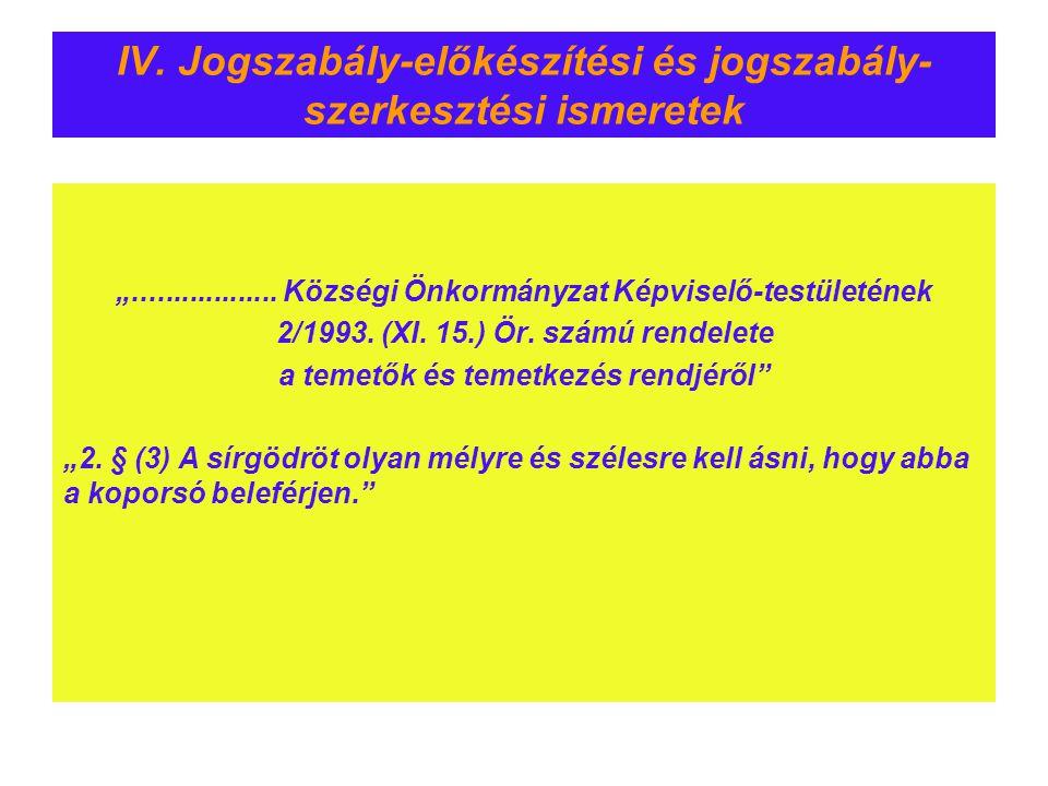 """IV. Jogszabály-előkészítési és jogszabály- szerkesztési ismeretek """".................. Községi Önkormányzat Képviselő-testületének 2/1993. (XI. 15.) Ör"""