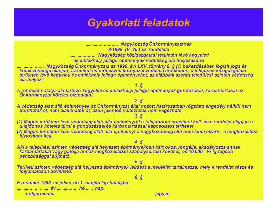 Gyakorlati feladatok.......................... Nagyközség Önkormányzatának 8/1998. (V. 25.) sz. rendelete...................... Nagyközség közigazgatá