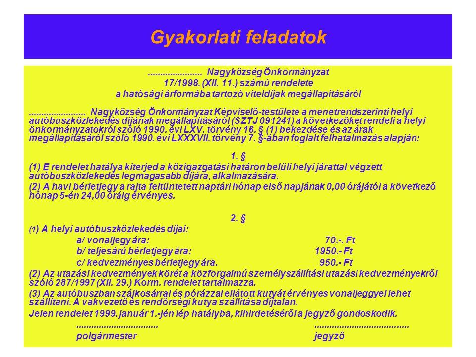 Gyakorlati feladatok...................... Nagyközség Önkormányzat 17/1998. (XII. 11.) számú rendelete a hatósági árformába tartozó viteldíjak megálla