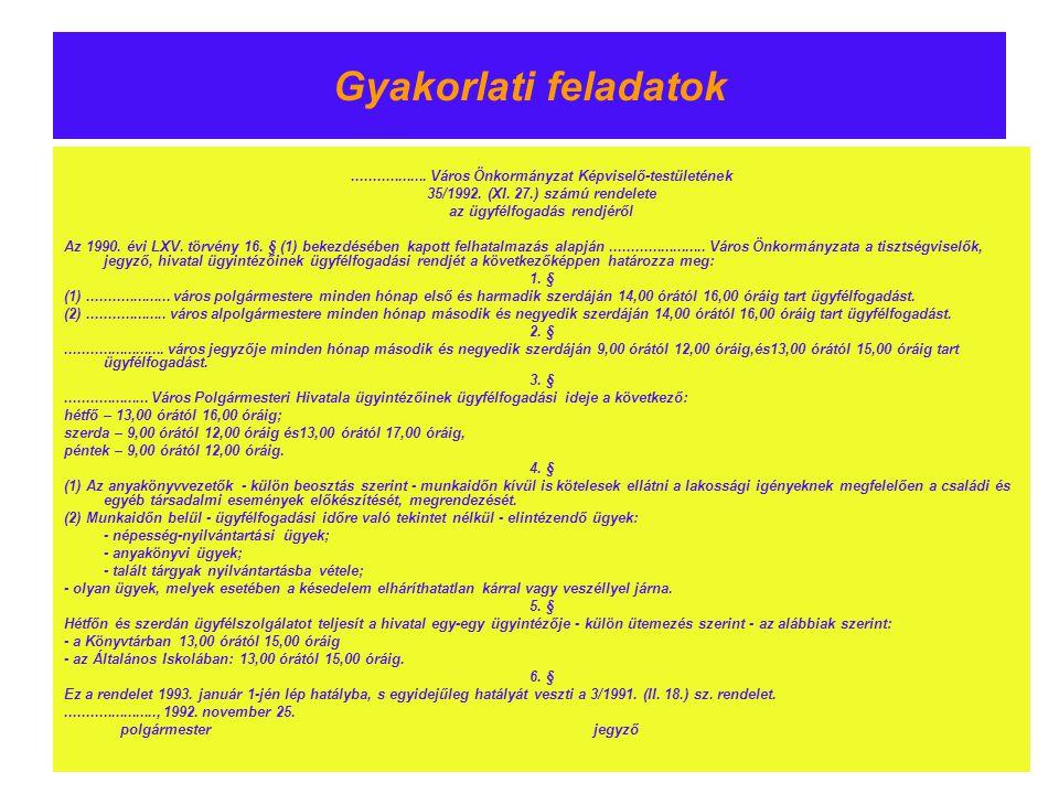 Gyakorlati feladatok.................. Város Önkormányzat Képviselő-testületének 35/1992. (XI. 27.) számú rendelete az ügyfélfogadás rendjéről Az 1990