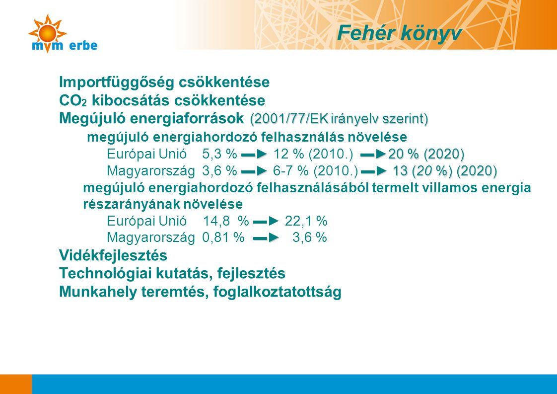 Importfüggőség csökkentése CO 2 kibocsátás csökkentése (2001/77/EK irányelv szerint) Megújuló energiaforrások (2001/77/EK irányelv szerint) megújuló e